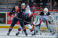 KELOWNA, BC - JANUARY 11: Brodi Stuart #17 of the Kamloops Blazers is checked by Devin Steffler #4 in front of the net of Cole Schwebius #31 of the Kelowna Rockets during first period at Prospera Place on January 11, 2020 in Kelowna, Canada. (Photo by Marissa Baecker/Shoot the Breeze)
