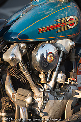 """Scott Wages, the """"Golden Ticket"""" winner, won the opportunity to ride the entire Cannonball on this 1936 Harley-Davidson Knucklehead from Carl's Cycle, shown here at High Desert Harley-Davidson in Meridian, Idaho for the hosted dinner strop at the end of stage 13 (257 miles) of the Motorcycle Cannonball Cross-Country Endurance Run, which on this day ran from Elko, NV to Meridian, Idaho, USA. Thursday, September 18, 2014.  Photography ©2014 Michael Lichter."""