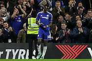 Bertrand Traore of Chelsea celebrates after scoring his sides 5th goal to make it 5-1.The Emirates FA Cup, 5th round match, Chelsea v Manchester city at Stamford Bridge in London on Sunday 21st Feb 2016.<br /> pic by John Patrick Fletcher, Andrew Orchard sports photography.