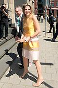 Koningin Maxima bij de inaugurele rede van professor Jumoke Oduwole, de nieuwe Prins Claus Leerstoelhouder, bij het International Institute of Social Studies (ISS) in Den Haag. <br /> <br /> Queen Maxima at the inaugural lecture of Professor Jumoke Oduwole, the new Prince Claus Chair holder at the International Institute of Social Studies (ISS) in The Hague.<br /> <br /> Op de foto / On the photo:  Aankomst / Arrival