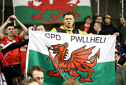 A Wales fan in the stands shows their support during the UEFA Nations League, League B, Group four match at The Aviva Stadium, Dublin. PRESS ASSOCIATION Photo. Picture date: Tuesday October 16, 2018. See PA story SOCCER Republic. Photo credit should read: Liam McBurney/PA Wire.