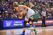 April 4, 2016; Indianapolis, Ind.; Adriana Dent tries to steal the ball from Tess Bruffey in the NCAA Division II Women's Basketball National Championship game at Bankers Life Fieldhouse between UAA and Lubbock Christian. The Seawolves lost to the Lady Chaps 78-73.