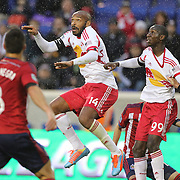Thierry Henry, and Bradley Wright-Phillips, New York Red Bulls, in action during the New York Red Bulls V Chivas USA, Major League Soccer regular season match at Red Bull Arena, Harrison, New Jersey. USA. 30th March 2014. Photo Tim Clayton