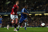 Photo: Tony Oudot.<br /> Chelsea v Manchester United. The Barclays Premiership. 09/05/2007.<br /> Shaun Wright Phillips of Chelsea challenges for the ball with Ole Gunnar Solskjaer of Man Utd