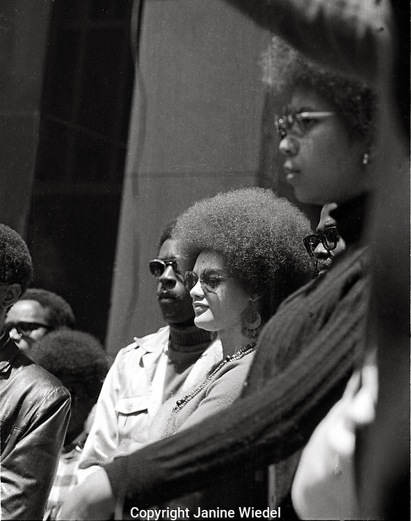 Kathleen Cleaver speaking at black panther rally at Federal building San Francisco 1969