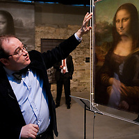 Scientist Pascal Cotte speaks about the tehchnology he involved in discovering the creation of the painting Mona Lisa during the opening of the exhibition to discover the artistic work of Leonardo Da Vinci, Budapest, Hungary. Thursday, 05. February 2009. ATTILA VOLGYI