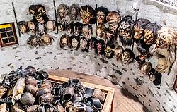 01.12.2016, Riedlhof, Lienz, AUT, Osttiroler Krampustage im Bild Krampusmaske. Mitglieder der Krampusgruppe NIKRAMO beim traditionellen Osttiroler Tischziachn // Members of the Krampusgroup NIKRAMO during the traditional Osttiroler table drawing. Krampus a mythical creature that, according to legend, accompanies Saint Nicholas during the festive season. Instead of giving gifts to good children, he punishes the bad ones, Lienz, Austria on 2016/12/01. EXPA Pictures © 2016, PhotoCredit: EXPA/ JFK
