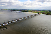 Nederland, Zuid-Holland, Hollandsch Diep, 23-10-2013; Tweesporige spoorbrug voor reguliere trein en de tweesporige brug voor de HSL over het Hollandsch Diep.<br /> Double-track railway for regular trains and double-track bridge for the HST over the Hollandsch Diep.<br /> luchtfoto (toeslag op standaard tarieven);<br /> aerial photo (additional fee required);<br /> copyright foto/photo Siebe Swart.