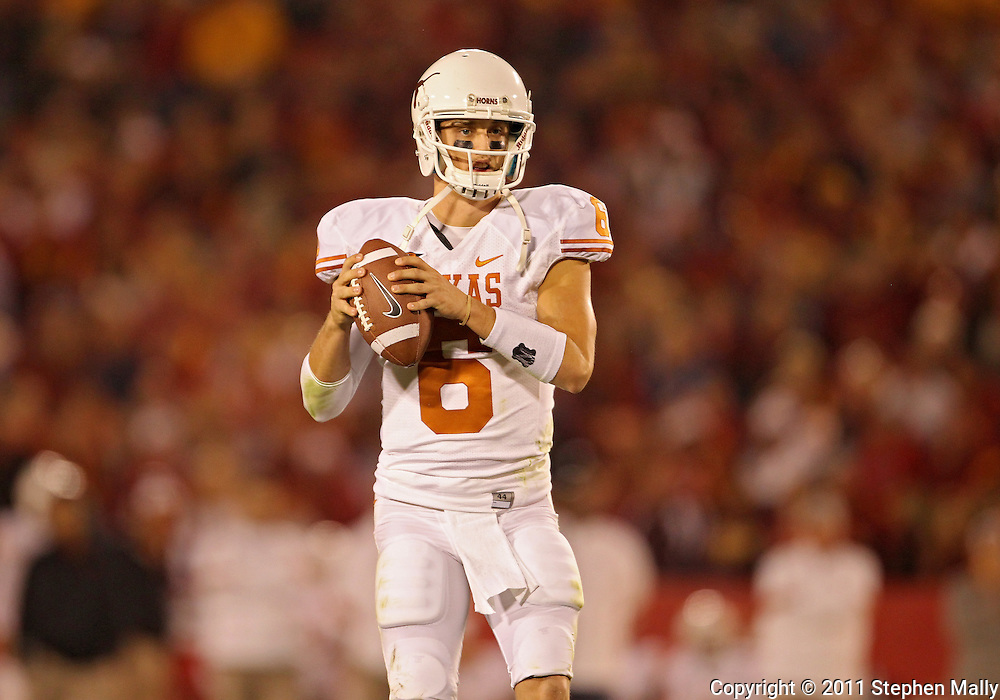 October 01, 2011: Texas Longhorns quarterback Case McCoy (6) looks to pass during the second half of the game between the Iowa State Cyclones and the Texas Longhorns at Jack Trice Stadium in Ames, Iowa on Saturday, October 1, 2011. Texas defeated Iowa State 37-14.