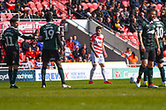 Danny Andrew of Doncaster Rovers (3) just before scoring a free kick goal to make the score 2-0 during the EFL Sky Bet League 1 match between Doncaster Rovers and Plymouth Argyle at the Keepmoat Stadium, Doncaster, England on 13 April 2019.