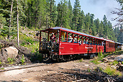 Photograph of the Durango & Silverton Narrow Guage Railroad as it travels between Silverton and Durange, Colorago, USA on a beautiful summer day.