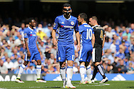 Pedro of Chelsea looks on wearing a protective face mask. Barclays Premier league match, Chelsea v Leicester city at Stamford Bridge in London on Sunday 15th May 2016.<br /> pic by John Patrick Fletcher, Andrew Orchard sports photography.