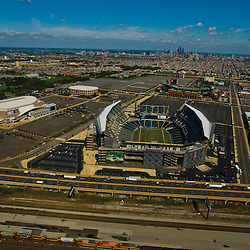 Aerial  view of Philadelphia Eagles, Lincoln Financial Field, comcast center, citizens bank park, over philly route 95
