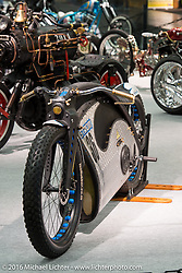 Noel Connolly's 2015 Strom Zero-Emission electric motorcycle in a hard tail frame from Flame-Art Designs in County Galway, Ireland on display in the AMD World Championship of Custom Bike Building in the custom themed Hall 10 at the Intermot Motorcycle Trade Fair. Cologne, Germany. Tuesday October 4, 2016. Photography ©2016 Michael Lichter.