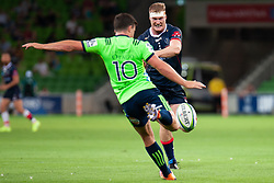 March 1, 2019 - Victoria, VIC, U.S. - MELBOURNE, AUSTRALIA - MARCH 01: Matt Philip (5) of the Melbourne Rebels charges at Bryn Gatland (10) of the Highlanders for the ball at The Super Rugby match between Melbourne Rebels and Highlanders on March 01, 2019 at AAMI Park, VIC. (Photo by Speed Media/Icon Sportswire) (Credit Image: © Speed Media/Icon SMI via ZUMA Press)