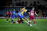 Bradford City goalkeeper Richard O'Donnell (1) grabs on to this cross before Peterborough United forward Ivan Toney (17) could get on the end of it during the EFL Sky Bet League 1 match between Peterborough United and Bradford City at The Abax Stadium, Peterborough, England on 17 November 2018.