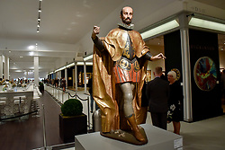 """© Licensed to London News Pictures. 28/06/2017. London, UK.  """"A Spanish Nobleman"""", c1610, by Gregorio Fernández. Preview day at Masterpiece London, a leading art fair held in Chelsea, bringing together 150 international exhibitors presenting works from antiquity to the present day.  The event runs 29 June to 5 July 2017.   Photo credit : Stephen Chung/LNP"""