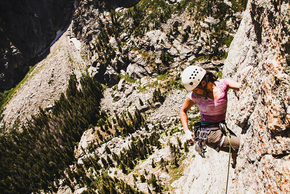 At 5 feet 1 inch, Shiho Kobayashi, made short work of the crux pitch on Caveat Emptor, 5.10 IV, in Death Canyon, Grand Teton National Park.