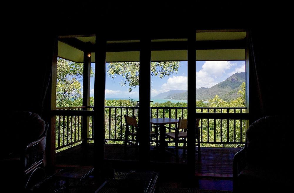 Thala Beach Lodge balcony overlooking the Coral Sea and Thala Beach, Port Douglas, Australia