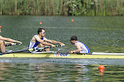 Lucerne, SWITZERLAND. B Final, FRA M8+ left stroke Bastien RIPOL and cox Christophe LATTAIGNANT,  at the  2008 FISA World Cup Regatta, Round 2.  Lake Rotsee, on Sunday, 01/06/2008.   [Mandatory Credit:  Peter Spurrier/Intersport Images].Lucerne International Regatta. Rowing Course, Lake Rottsee, Lucerne, SWITZERLAND.