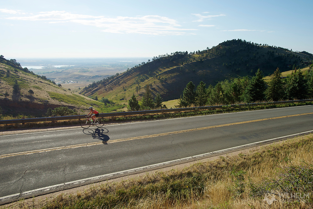 08 September 2013: A rider climbs Old Stage Road during the bicycle ride from the front range city of Boulder to the mountain town of Ward via Old Stage Road and Left Hand Canyon in Boulder, CO. ©Brett Wilhelm/Clarkson Creative - RAW Files Available On Request