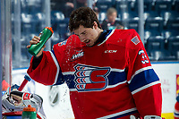 KELOWNA, BC - JANUARY 31: Lukáš Pařík #33 of the Spokane Chiefs cools off at the bench during warm up against the Kelowna Rockets at Prospera Place on January 31, 2020 in Kelowna, Canada. Pařík is a 2019 NHL entry draft pick of the Los Angeles Kings. (Photo by Marissa Baecker/Shoot the Breeze)