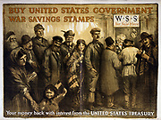 Buy United States government war savings stamps Your money back with interest from the United States Treasury by William Ker, artist [1917]. print (poster) showing a variety of people lined up at a window tended by Uncle Sam, beneath a sign 'W.S.S. for sale here'; a little girl waves the American flag in the foreground. World War I