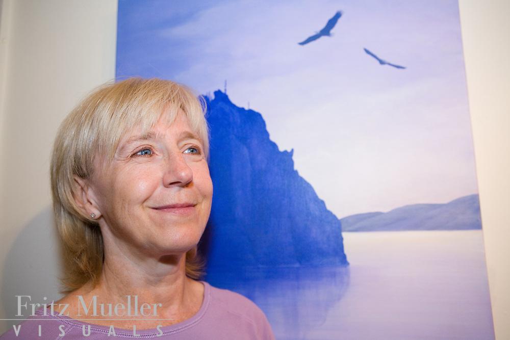 Artist Heidi Hehn shows her paintings on display at Yukon Artists @ Work in Whitehorse