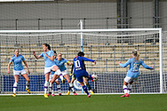 GOAL! Ji So-yun (10) of Chelsea WFC shoots and scores and makes it 1-1 during the FA Women's Super League match between Manchester City Women and Chelsea at the Sport City Academy Stadium, Manchester, United Kingdom on 23 February 2020.