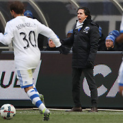 NEW YORK, NEW YORK - March 18:  Montreal Impact head coach Mauro Biello on the sideline during the New York City FC Vs Montreal Impact regular season MLS game at Yankee Stadium on March 18, 2017 in New York City. (Photo by Tim Clayton/Corbis via Getty Images)