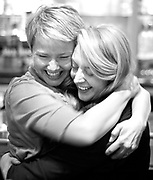 PRICE CHAMBERS / NEWS&GUIDE<br /> Melissa Turley hugs campaign manager Jordan Schriber Tuesday night at Eleanor's Bar and Grill as the pair celebrate a win for the newest Teton County Commissioner. Turley joins Barbara Allen as they replace commissioners Paul Perry and Andy Schwartz.