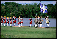 French marine fife-and-drum corps (mid 1700s) performs beside Missouri River at Lewis & Clark Heritage Days fest; St. Charles, Missouri