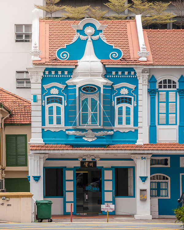 Singapore - 26 March 2019: view of a colourful and traditional building in Singapore downtown.