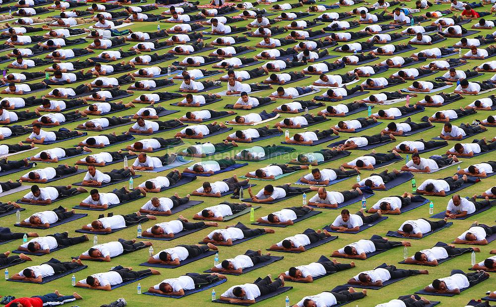 June 21, 2017 - Jaipur, Rajasthan, India - Yoga enthusiasts  take part in a yoga session during the 3rd International Yoga Day at SMS stadium in Jaipur, Rajasthan, India. (Credit Image: © Vishal Bhatnagar/NurPhoto via ZUMA Press)