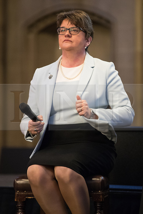 © Licensed to London News Pictures  . 03/10/2017 . Manchester , UK . ARLENE FOSTER MLA , leader of the Democratic Unionist Party ( DUP ) at a fringe event in the Great Hall in Manchester Town Hall during day three of the Conservative Party Conference at the Manchester Central Convention Centre . Photo credit : Joel Goodman/LNP