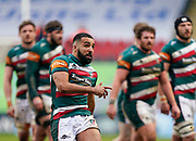 Leicester Tigers fly-half Zack Henry during a Gallagher Premiership Round 10 Rugby Union match, Friday, Feb. 20, 2021, in Leicester, United Kingdom. (Steve Flynn/Image of Sport)