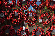 Dedicated to the casualties of wars, red artificial poppies set into wreaths hang on temporary fencing in London's Whitehall.