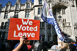 © Licensed to London News Pictures. 17/09/2019. London, UK. Pro Brexit Protestors gather at the The Supreme Court in London where an appeal has been made against a judicial review of Boris Johnson's suspension of Parliament. The case has been brought by remain campaigner Gina Miller, with support from former British Prime Minister John Major. Photo credit: Ben Cawthra/LNP