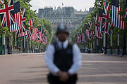 On US President Donald Trumps first day of a controversial three-day state visit to the UK by the 45th American President, a British Met Police officer secures the Mall, on 3rd June 2019, in London England.