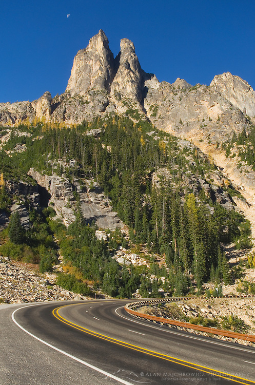 North Cascades Highway (Washington State Route 20) and Early Winters Spires, North Cascades Washington