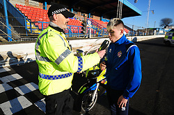 Fife Division, Roads Policing Festive launch, Central Park, Cowdenbeath, 29-11-2019<br /> <br /> Cowdenbeath player Connor Smith does a breath test from PC Seb Milne<br /> <br /> (c) David Wardle | Edinburgh Elite media