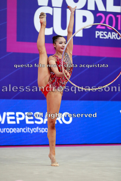 Minagawa Kaho during Qualification of hoop at World Cup Pesaro 2018.<br /> She was born 20 August 1997 in Chiba Prefecture, Japan, is a Japanese individual rhythmic gymnast.