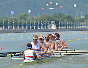 Chungju, South Korea.  GBR M8+ lane 3  move away from the start, on the second day of the 2013 FISA World Rowing Championships, Tangeum Lake International Regatta Course.14:09:13  Monday  26/08/2013 [Mandatory Credit. Peter Spurrier/Intersport Images]<br /> <br /> Crew, Bow, Dan RITCHIE, Tom RANSLEY, Alex GREGORY, Peter REED, Mo SHIBI, Andy TRIGGS HODGE, George NASH, Will SATCH and Cox Phelan HILL.