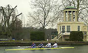 Henley. England, GB Rowing crews training on Henley Reach.<br /> Photo Peter Spurrier.<br /> 11/03/2004 - British International Rowing - Training<br /> GBR M4- left to right , stroke Matt Pinsent, James Cracknell, Josh West and bow Stephen Williams..   [Mandatory Credit. Peter SPURRIER/Intersport Images]