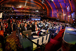 A general view of the hall with each team represented during the first round of the NFL Draft on April 26th 2012 at Radio City Music Hall in New York, New York. (AP Photo/Brian Garfinkel)