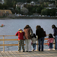 South America, Chile, Puerto Varas. Locals enjoying Llanquihue Lake in Puerto Varas.
