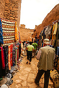 Mud houses and market in the Kasbah of Ait Benhaddou, Morocco