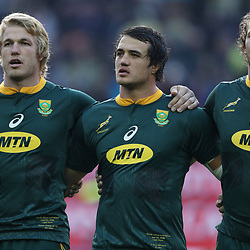 Pieter-Steph du Toit with Franco Mostert and RG Snyman of South Africa during the 2018 Castle Lager Incoming Series 3rd Test match between South Africa and England at Newlands Rugby Stadium,Cape Town,South Africa. 23,06,2018 Photo by (Steve Haag JMP)