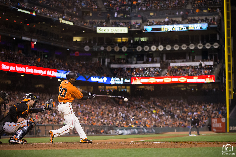 San Francisco Giants third baseman Eduardo Nunez (10) makes contact on a pitch against the Baltimore Orioles at AT&T Park in San Francisco, Calif., on August 12, 2016. (Stan Olszewski/Special to S.F. Examiner)