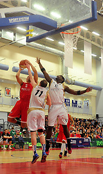 Bristol Academy Flyers' Greg Streete is the first to react to a loose ball - Photo mandatory by-line: Dougie Allward/JMP - Tel: Mobile: 07966 386802 23/03/2013 - SPORT - Basketball - WISE Basketball Arena - SGS College - Bristol -  Bristol Academy Flyers V Essex Leopards